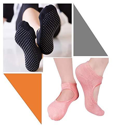 TradeProvider Sports Socks, Non-Slip Yoga Socks for Women, Pilates, Barre, Fitness, Trampoline, Workout, Ballet Socks, (Black and Peach, Size UK 5.5 – 9 / EU 38 –45, Pack of 2 Pairs Cotton Socks)