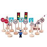YeahiBaby Segnaletica Stradale in Legno Segnali Stradali Traffico Blocco Giocattoli Educativi per Bambini 15pcs