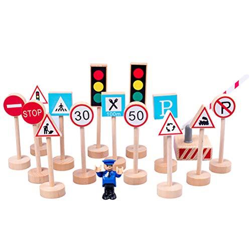 Toyvian Straßenschilder Verkehrszeichen Holz Verkehrsschilder Pädagogisches Spielzeug für Kinder 15 Stücke
