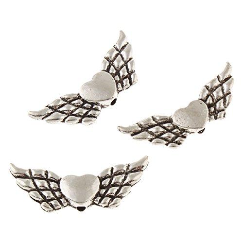 Perlin - 40 Flügel Engel Mit Herz Metallperlen Engelsflügel Perlen 22mm Metall Spacer DIY für Armbänder, Halskette M437 x2