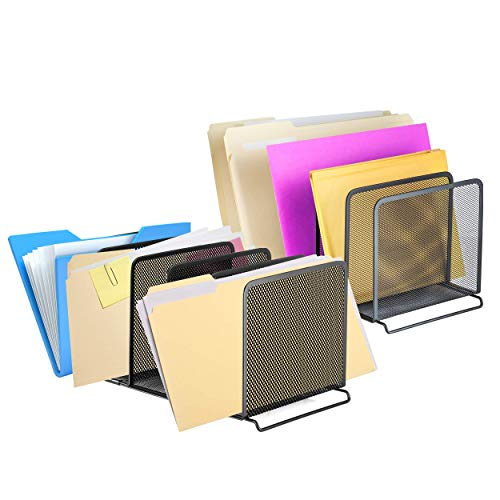 Halter File Organizer 5 Sections Mesh Metal File Holder Storage for Home and Office Desk Organizer, 2 Pack