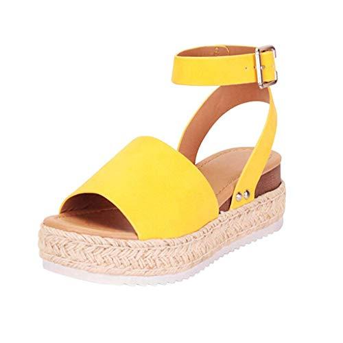 MRULIC Casual Damen Gummisohle mit Nietenbesetzte Keilschiene Knöchelriemen Open Toe Sandals Sandalen Keilschuhe(Gelb,35 EU)