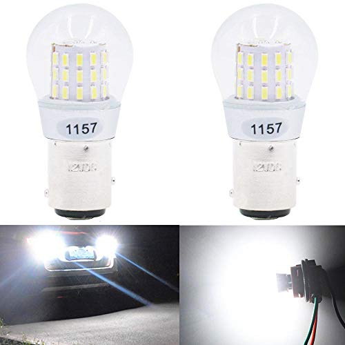 2- Stück Weiß Super Hell 1157 1034 7528 2057 2357 Glühbirne Anpassbar an 12-15V DC - Für Rücklicht Standlichtlampen