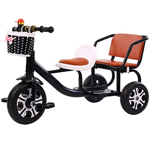 Tandem Kinder Dreirad Mit Lager Behälter, Doppelt Sitz Pedal Fahrrad Können Tragen Menschen Reiten Spielzeuge 3-6 Jahre Alt,C