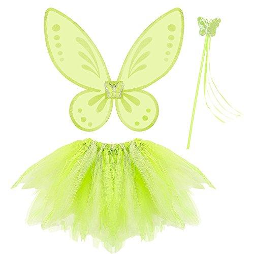 Widmann Fairy Verde Tutu Ali Bacchetta Magica Costume Party e Carnevale 323 per Bambini, Multicolore, One Size 8003558965410