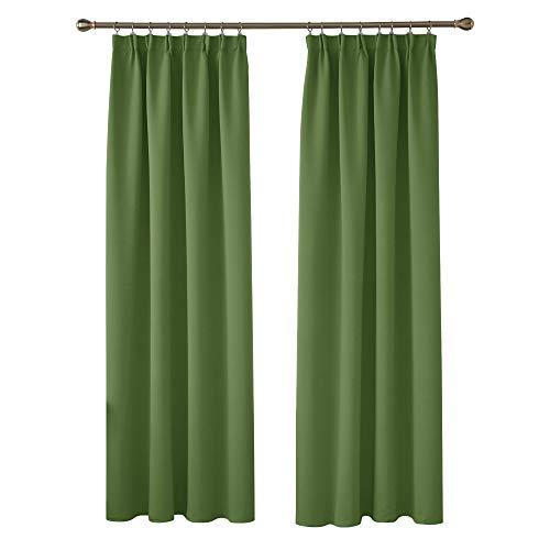 Deconovo Cortinas Opacas Térmicas de Salón Suave Moderno Original Fruncidas 1 Par 140 x 245 cm Verde