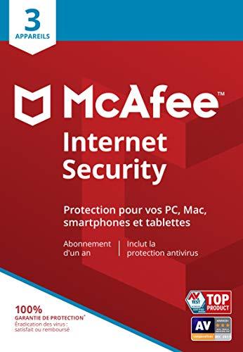 McAfee Internet Security | 3 Appareils | 1 An | PC/Mac/Android/Smartphones | Code d'activation - envoi par la poste