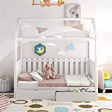 Daybed with Drawers Wood Toddler House Beach Bed Frame for Kids Twin Size Tent Bed Floor Bed, White
