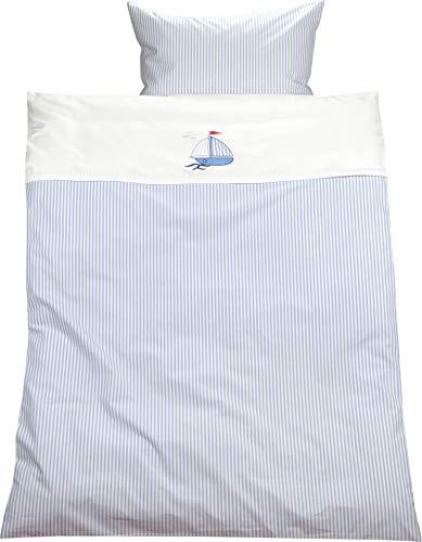 Lorenchen/Lorena Mako-Batist Streifen Kinderbettwäsche Segelboot Schiff Blau Weiß 100% Baumwolle gestreift (100 x 135 cm + 40 x 60 cm)