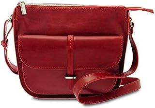 GIUDI ® - Borsa Donna in pelle vacchetta, vera pelle, borsa a spalla, tracolla,Made in Italy. (Rosso)