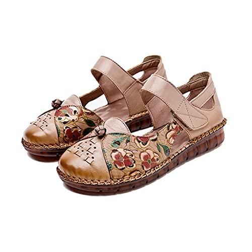 Mujeres sandalias huecas en verano, cómodas, súper suaves,, zapatos de viaje deslizantes al aire libre, estilo étnico hecho a mano Layera de cuero de la capa superior ( Color : Brown , Size : 35EUR )