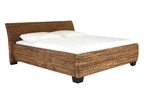 massivum Doppel-Bett Barika 200x200 cm Liegefläche aus Bananenblatt braun Komfort-Höhe