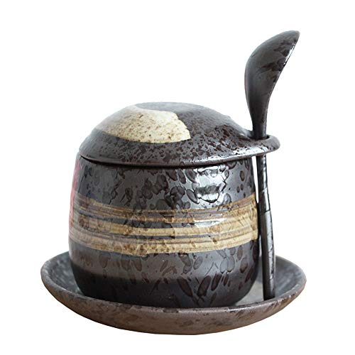 Japanese Style Stoneware Steamed Egg Cup, Bird'S Nest Stew Pot, Dessert Pot, Seasoning Jar. (With Spoon And Saucer)