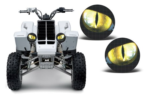 AMR Racing ATV Headlight Eye Graphics Decal Cover Compatible with Yamaha Banshee 350 1987-2005 - Eclipse Yellow