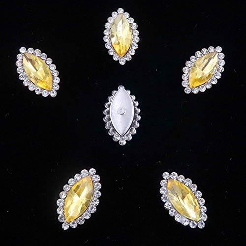 7 * 15mm Glass Crystal with Rhinestones in Silver Claw Settings Marquise Shape Sew on Rhinestone Wedding Dress DIY