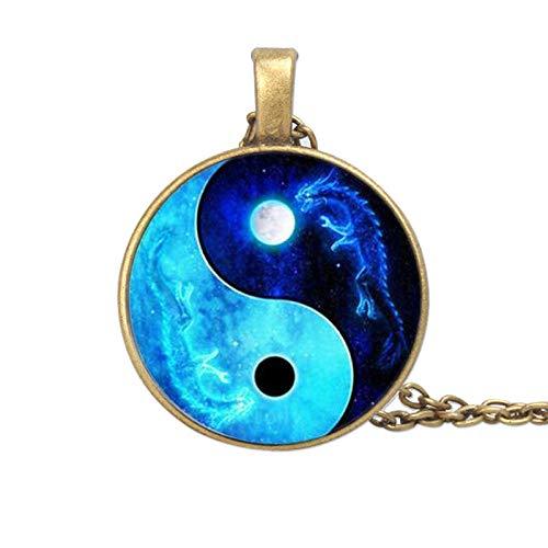 Dragon Moon Yin Yang Taiji Time Gema Collar Sweater Cadena Colgante Aguja