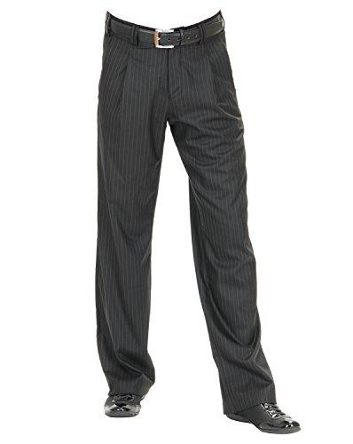 Herren Bundfaltenhose in Schwarz mit Weißen Nadelstreifen Model Swing Größe 56