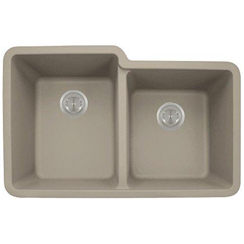 801 Double Offset Bowl Quartz Kitchen Sink, Slate, No Additional Accessories