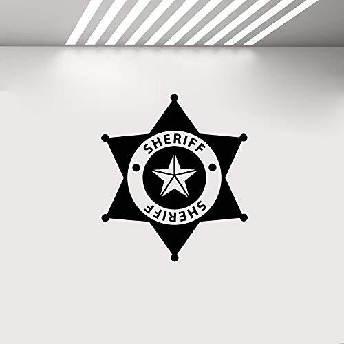 YuanMinglu Polizei Abzeichen Kinder Vinyl Art Deco Aufkleber Wandbild Junge Zimmer Wand Tür...