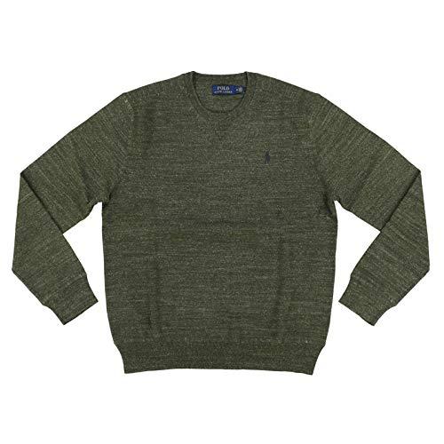 Polo Ralph Lauren Mens Crew Neck Pullover Sweater (Medium, Green Heather)
