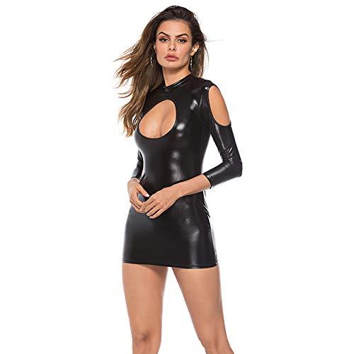 ALASON Mini Vestido Mujer Sexy Latex - Vestido de Cuero Vestido de Tirantes hasta,Negro,XXXL
