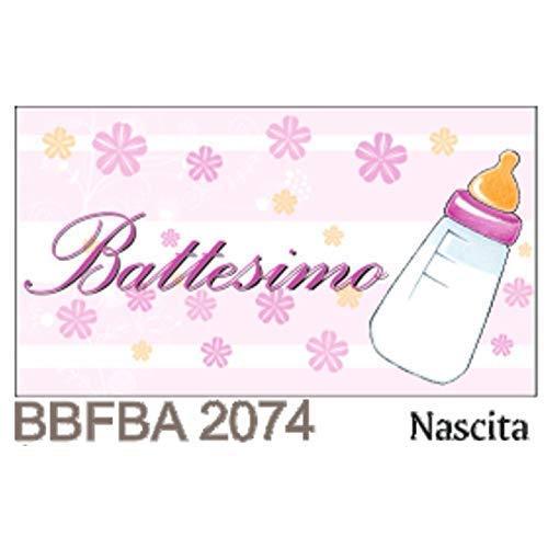 Pianeta Confetti Bigliettino Bomboniera Battesimo Bambino con Biberon, Rosa, 100 pezzi