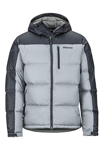 Marmot Herren Ultra-Leichte Daunenjacke, 700 Fill-Power, Warme Outdoorjacke mit Kapuze, Wasserabweisend, Winddicht Guides Down Hoody, Grey Storm/Dark Steel, XXL, 73060-1819