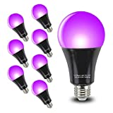 Black Light Bulbs 9W 8 Pack GLW A19 E26 LED Blacklight Bulb 385-400nm UVA Black Lights for Blacklight Party, Glow in The Dark, Body Paint, Neon Glow