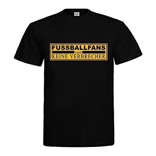 MDMA T-Shirt Fußballfans sind Keine Verbrecher N14-mdma-t00665-15 Textil Black/Motiv gelb Gr. XXL