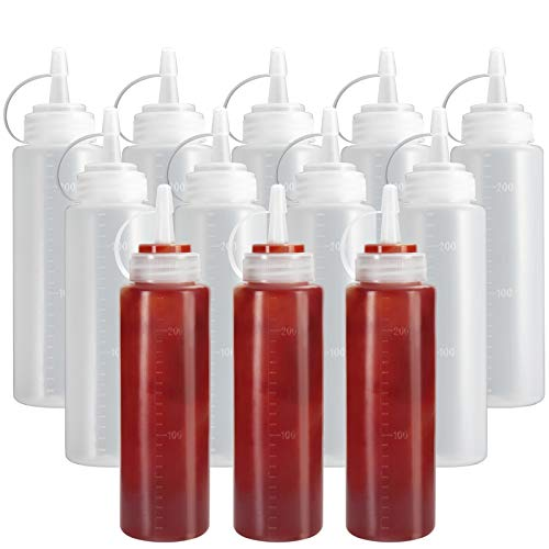240ml Plastic Squeeze Bottles with NATURAL Disc Top Flip Cap 8 oz 12 Pack