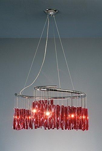 Dragon/Stretta Murano Glas Kronleuchter Kolarz-Leuchten in Chrom | Handgefertigt in Italien | Luster Modern Dimmbar | Lampe G9