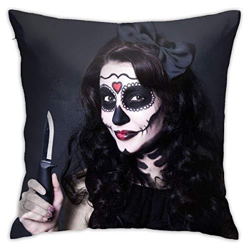 Lsjuee Funda de Almohada Mujer Calavera de Halloween Hacer Cuchillo de sujeción Funda de cojín Decorativa Fundas de Almohada Protectores 45x45 cm
