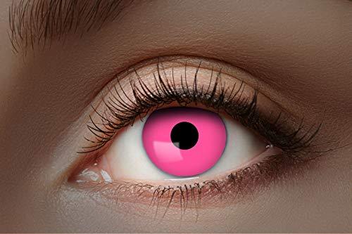 Eyecatcher - Farbige UV-Kontaktlinsen, Farblinsen, Jahreslinsen, 2 Stück, Halloween, Karneval, Fasching, neon pink