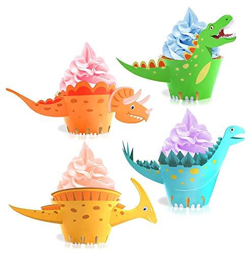 YOUYIKE® 24 Stücke Dinosaurier Cupcake Wrapper, doppelseitig, Dinosaurier Kuchen Dekoration für Kinder Party Dinosaurier Geburtstag Deko Jungen Mädchen.