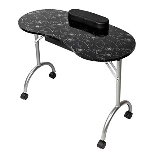 Portable MDF Manicure Table, Foldable Design and Wheels Easy to Move, with Arm Rest & Drawer Salon Spa Nail Equipment White,Black