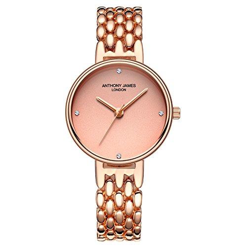 Anthony James | edición limitada | señoras de oro rosa reloj de pulsera correa de malla | | Swarovski Cristales de Diamantes | cuarzo | analógico | garantía de por vida