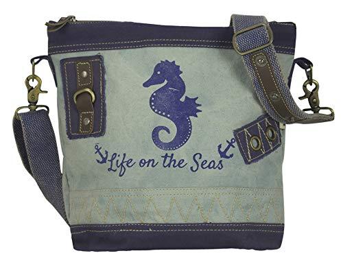 Sunsa Damen Tasche Umhängetasche Handtasche klein Canvas bag mit Jeans und Leder Vintage Design Teenager Taschen praktische Geschenke Bags for Women Schultertasche Damentaschen sale Seepferd