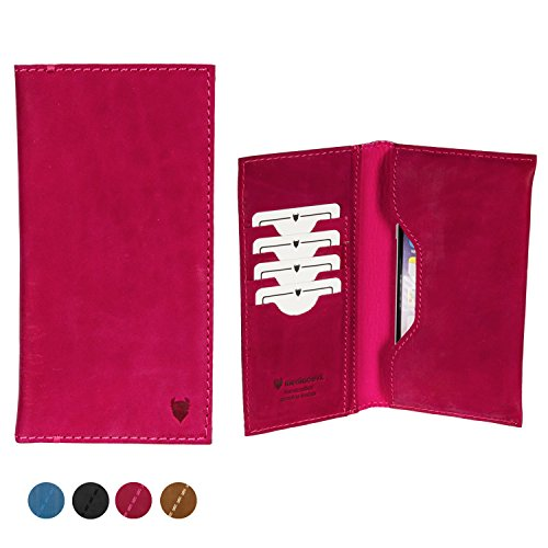 MediaDevil Artisanwallet Size 4 Smartphone Leather Case (Fuchsia) - Genuine Handcrafted Leather Wallet Pouch Case