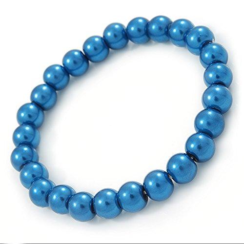 8 mm color azul cobalto de la perla de la pulsera del grano de Aquiles solo filamento de estilo - 18 cm L