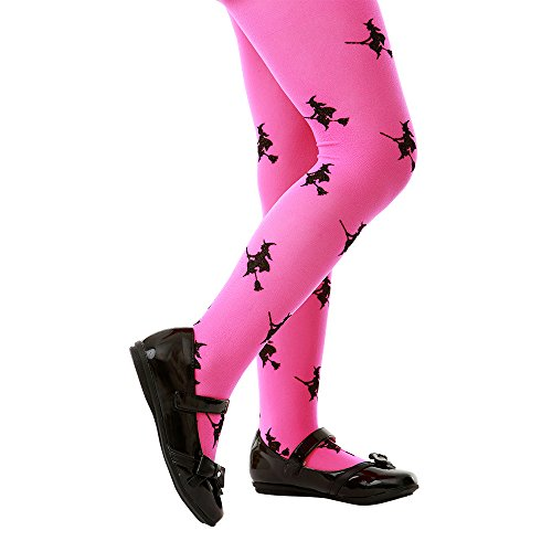 Children's Costume Tights for Halloween, Cosplay, and Dress Up by Boo! Inc. (Medium, Pink/Witches)
