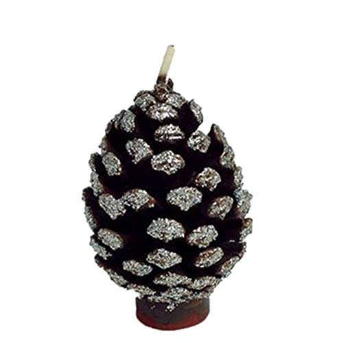 Vela de Navidad hecha a mano para cumpleaños Suministros creativos para fiestas navideñas Vela de cono de pino dorado local (plata)