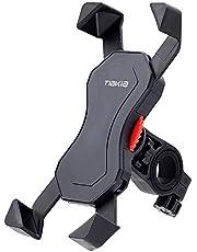 自転車 スマホ ホルダー オートバイ バイク スマートフォン 振れ止め 脱落防止 GPSナビ 携帯 固定用 マウント スタンド 防水 に適用 iPhone X XS SE 8 7 6 5 6S 5S Plus/HUWEI Mate P20 P10 lite/Xperia/android 多機種対応 360度回転 脱着簡単 角度調整 強力な保護 (ブラック)