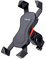 Tiakia 自転車 スマホ ホルダー オートバイ バイク スマートフォン 振れ止め 脱落防止 GPSナビ 携帯 固定用 マウント スタンド 防水 に適用iphone7 8 X xperia HUAWEI android (ブラック)