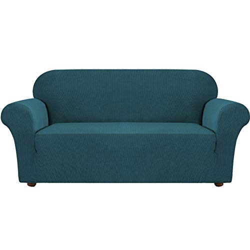 Fundas de sofá elásticas Turquoize, para 3 cojines, sofás, sofás, fundas para sofás, fundas para sofás con parte inferior elástica, a cuadros, tejido jacquard grueso lavable
