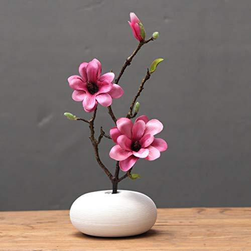 Artificial Flores en maceta Magnolia Flores artificiales con cerámica florero, Falso tacto verdadero Magnolia Ramo de Ministerio del Interior de la pieza central de la decoración Juego de flores decor