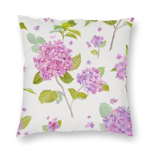 Funda de almohada de tamaño estándar de felpa vintage floral lila fondo decorativo funda de almohada 45,7 x 45,7 cm para decoración del hogar y oficina