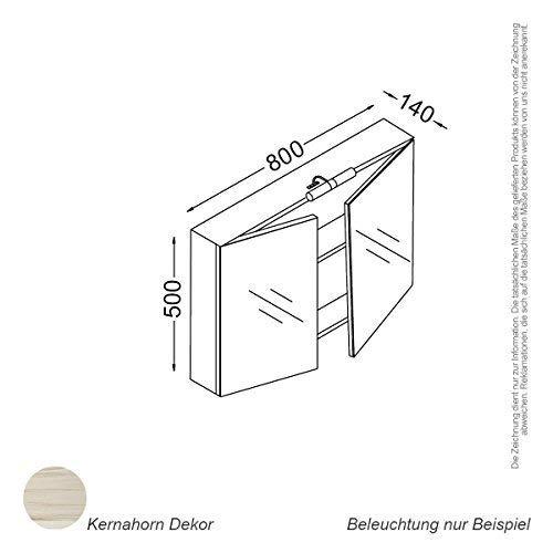 Kzoao Spiegelkast 80 cm Kernahorn