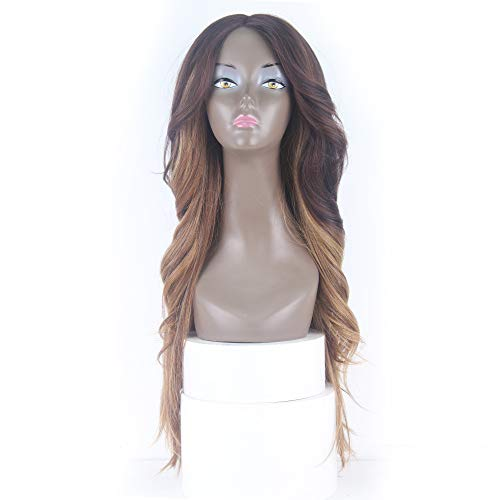 X-TRESS Black Roots With Dark Brown Ombre Honey Blonde Color Straight Wavy Lace Front Wigs 26'' Straight With Romance Curl Synthetic Wigs Heat Resistant for Women (DXR1233)