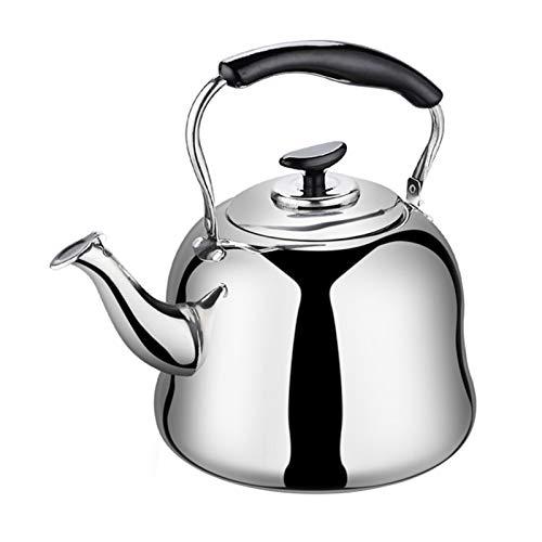 Hervidor de té silbado, gran capacidad de acero inoxidable engrosado, apto para la parte superior de la estufa (tamaño: 5L)
