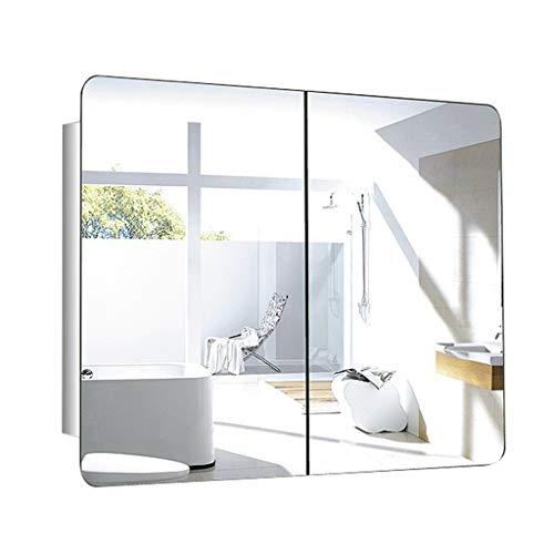 Spiegelschränke Bad Schiebetür Spiegelschrank Schlafzimmer Edelstahl Quadratischen Aufbewahrungsschrank Wand Medizin Aufbewahrungsschrank (Color : Silver-B)
